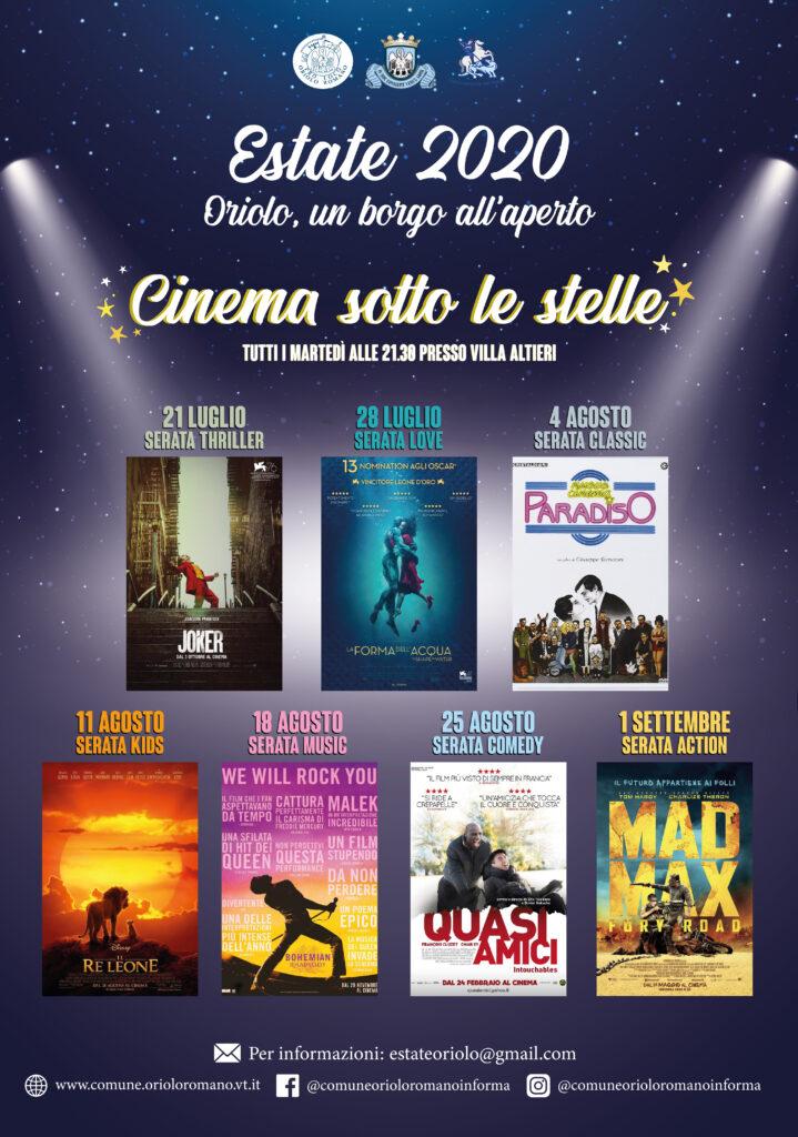 """  fino al 1 SETTEMBRE 2020   ORIOLO ROMANO - Proiezioni di qualità con """"Cinema sotto le stelle""""!"""