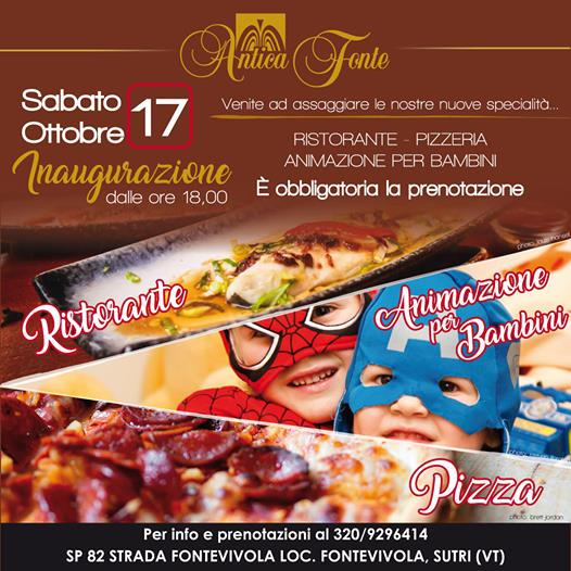| 17 OTTOBRE 2020 | SUTRI - Degustazioni: inaugurazione al ristorante-pizzeria Antica Fonte!